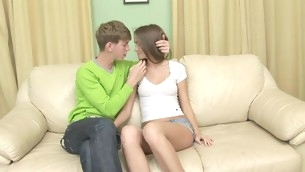 Nasty teen with shaved twat spreads legs