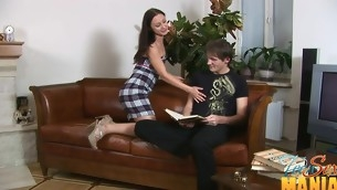 Leather couch sees plenty of teen sexual intercourse order