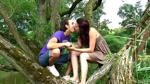 rødhårete tenåring doggystyle kyssing