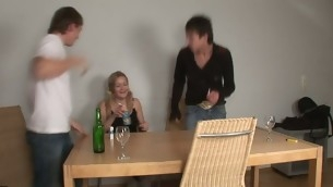 Delightful darling is sharing say no to twat with two horny dudes